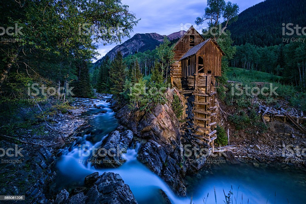 Crystal Mill Colorado at Dusk stock photo