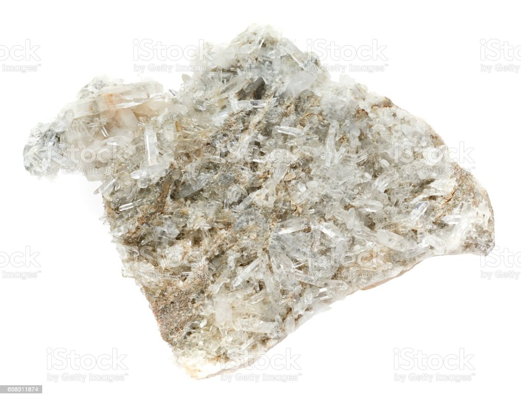 Crystal mineral sample of a gemstone with quartz stock photo