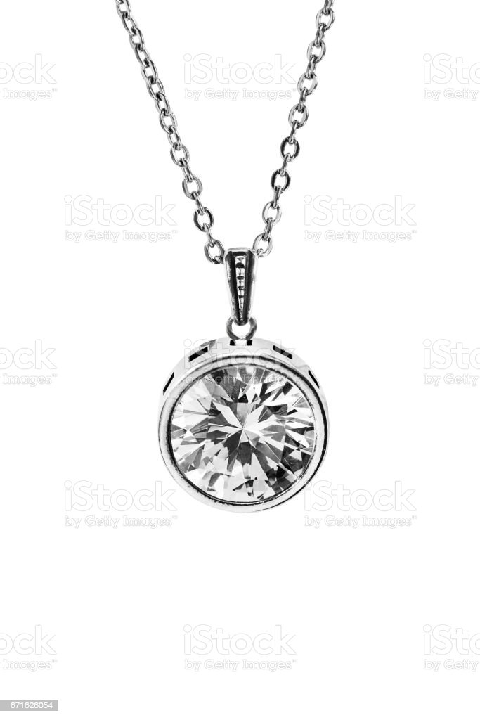 Crystal necklace isolated stock photo