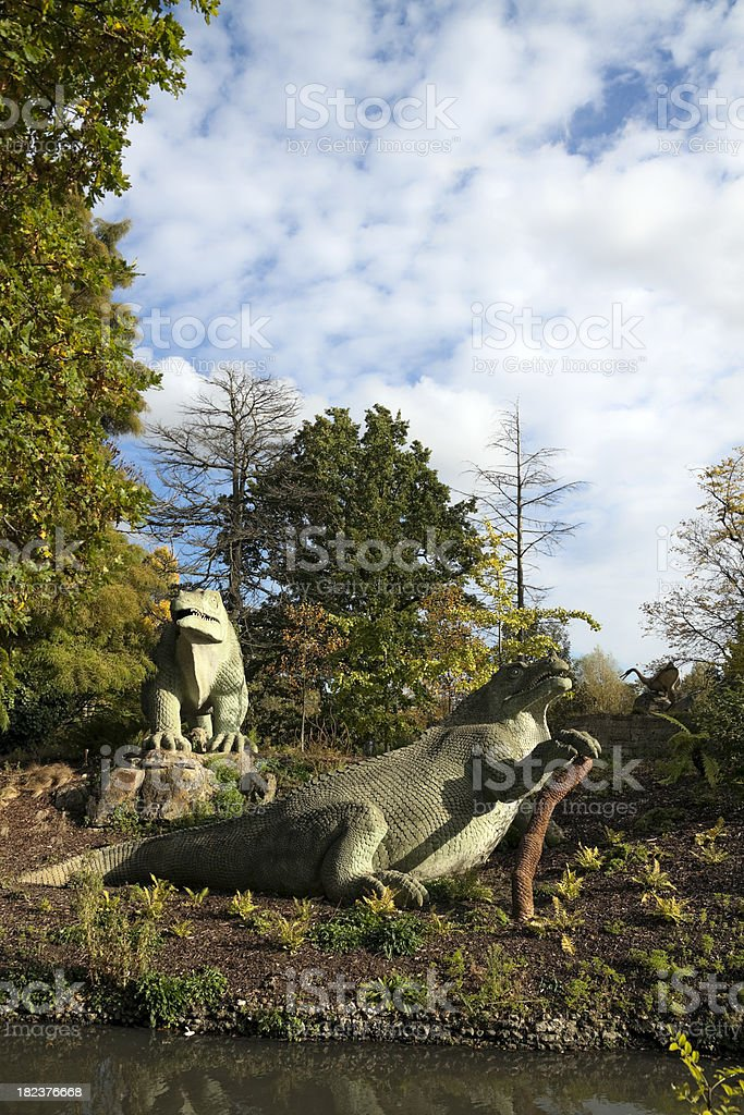 Crystal Palace dinosaurs stock photo