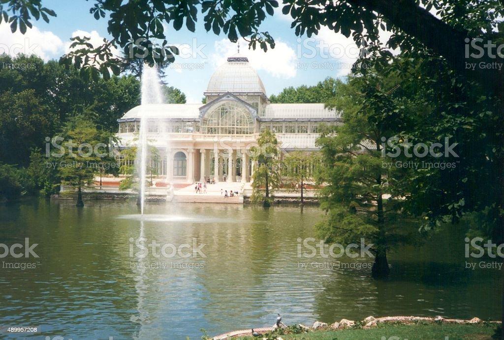 Crystal palace in Buen Retiro park, Madrid stock photo