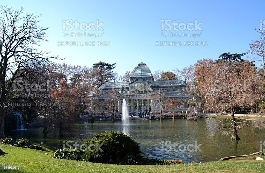 Crystal Palace in El Retiro Park in Madrid, Spain stock photo