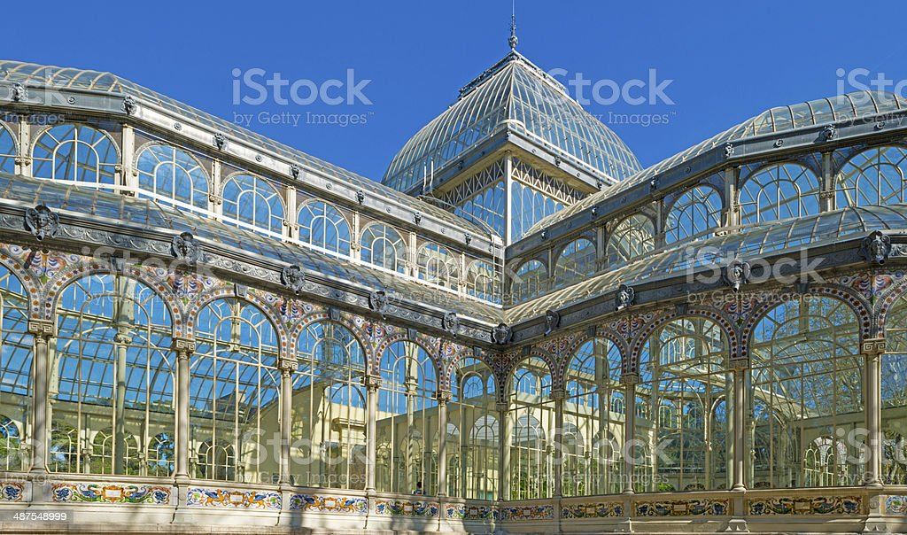 Crystal Palace in the Retiro Park in Madrid stock photo