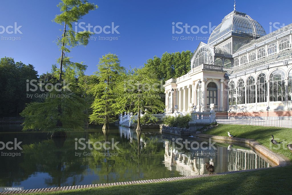 Palacio de Cristal, Parque del Retiro, Madrid stock photo