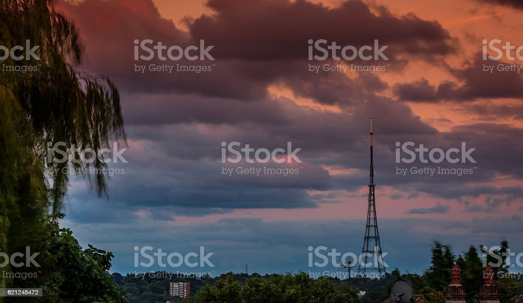 Crystal Palace Transmitting Station at dusk stock photo