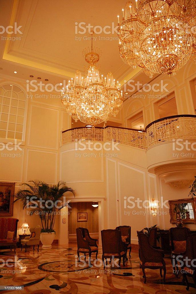 Crystal Pendant Lamp Lobby royalty-free stock photo
