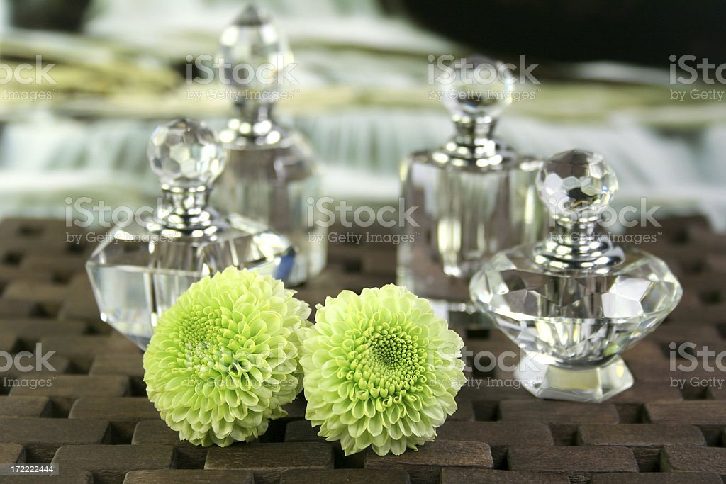 crystal perfume bottles & flowers royalty-free stock photo