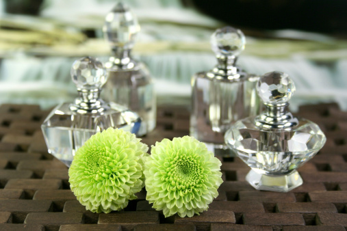 Crystal Perfume Bottles Flowers Stock Photo - Download Image Now