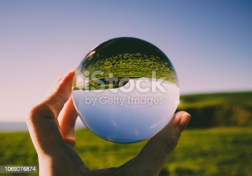 Crystal photography ball showing the seascape at St Bees, Whitehaven, Cumbria - British seaside