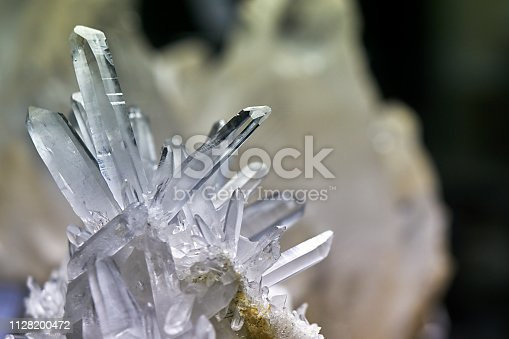 Closeup of a rock crystal on black