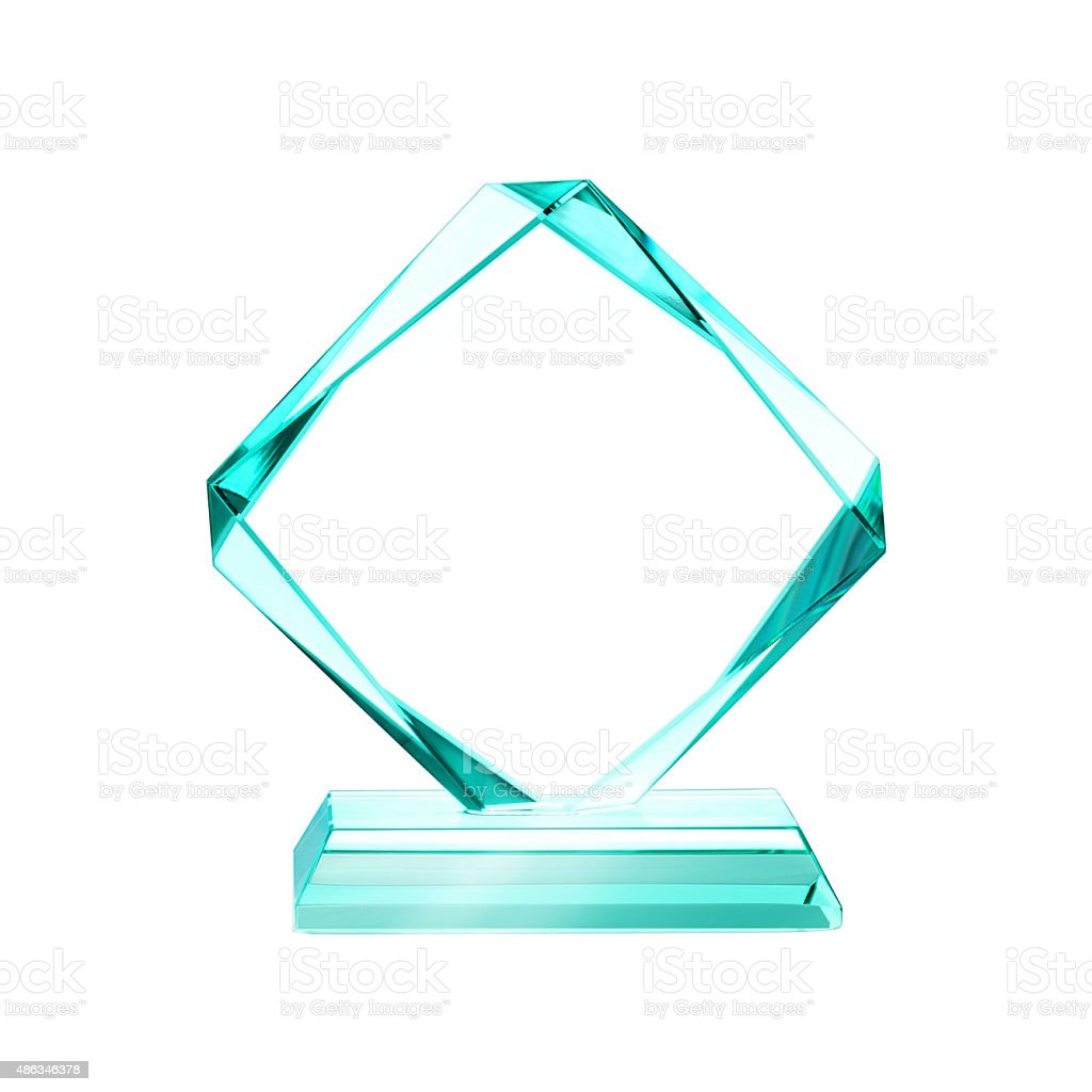 Crystal plaque award stock photo