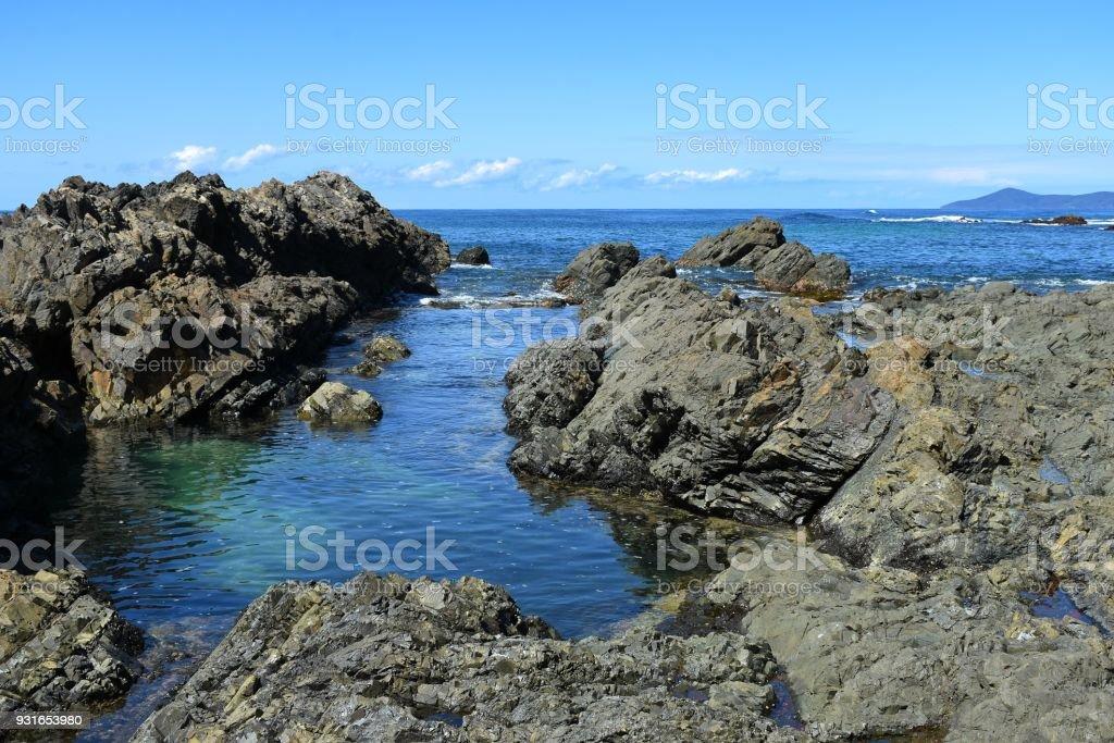 Crystal Pools area of Hallidays Point Australia stock photo