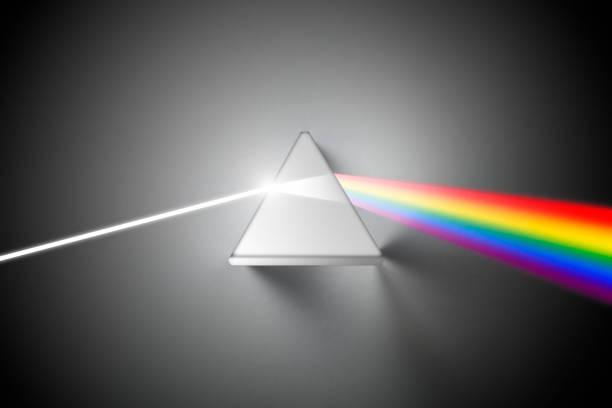 crystal prisma breekt het licht in spectrale kleuren - lichtbreking stockfoto's en -beelden