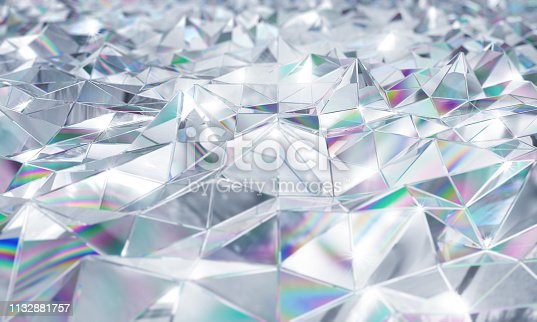 glittering crystal spike background with rainbow prism caustics. Clean bright and vivid background with depth of field.