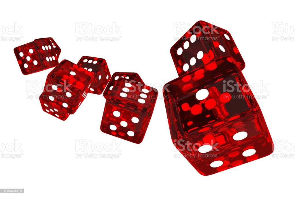 Crystal Red Casino Dices stock photo