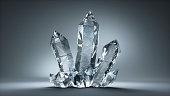 Set of Rock Cristals on dark Background - Quartz