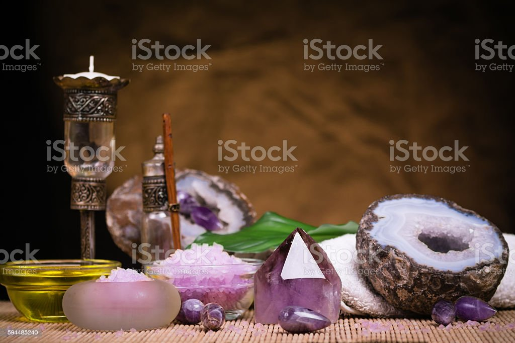 Crystal spa therapy stock photo