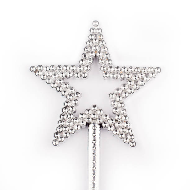 crystal star wand on white - fairy wand stock photos and pictures