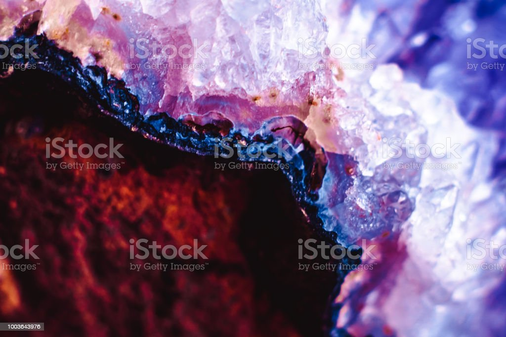 Crystal stone macro mineral surface stock photo