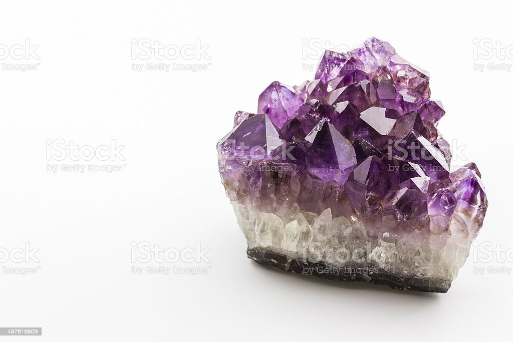 Crystal Stone, purple rough amethyst crystals. stock photo