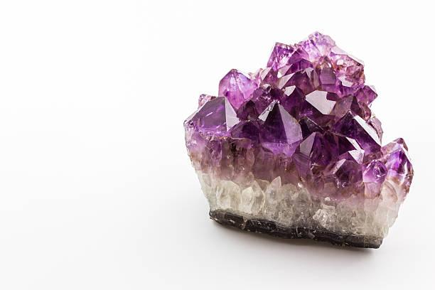 Crystal Stone, purple rough amethyst crystals. stock photo