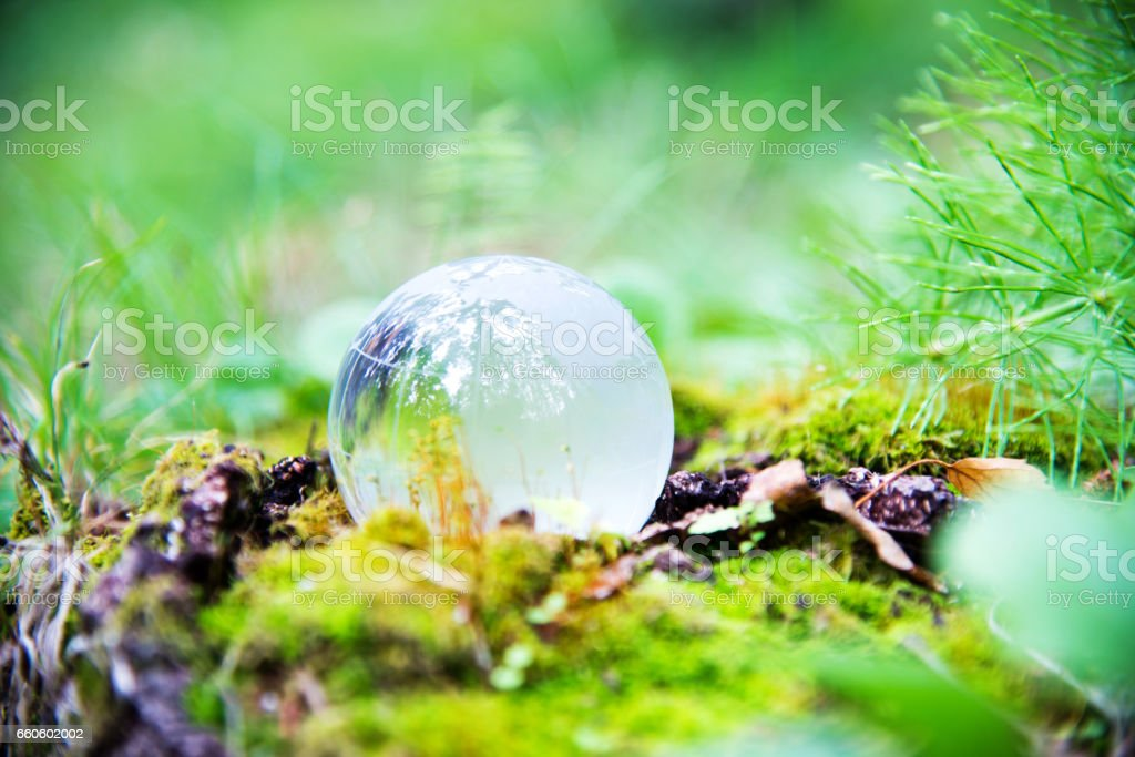 Crystal world globe resting on moss stock photo