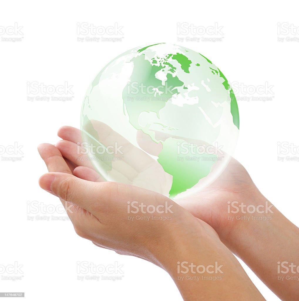 crystal mundo en mano - foto de stock