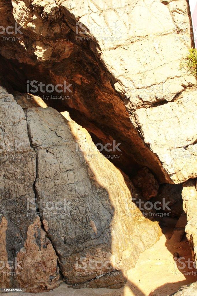 Crystalline waters and rock textures of Galapinhos Beach - Zbiór zdjęć royalty-free (Arrabida Natural Park)