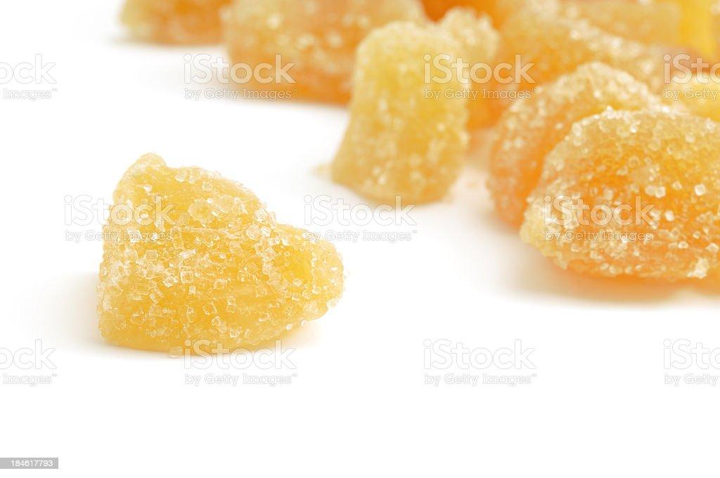 Crystallized ginger macro stock photo
