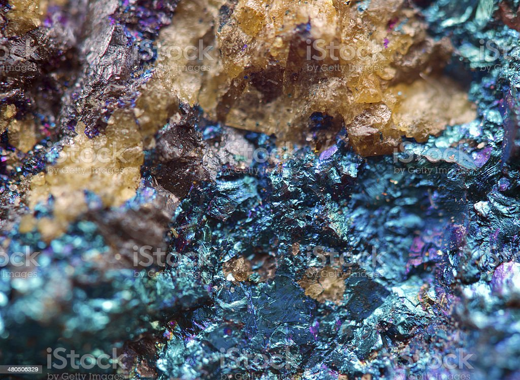 Crystal,nugget, gold, bronze, copper, iron. Macro. Extreme close stock photo