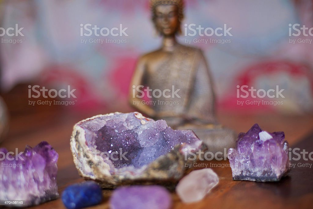 Crystals and Buddha stock photo