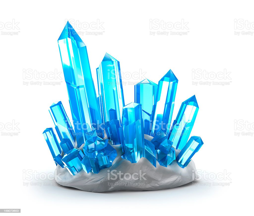 Crystals growing. Isolated on white stock photo