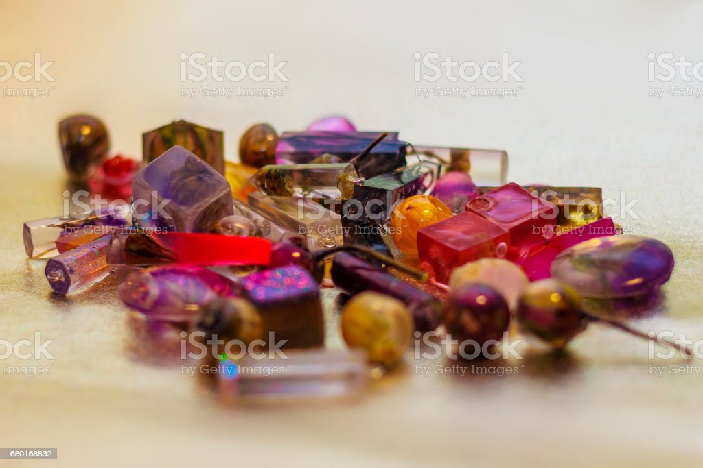 crystals made of epoxy resin close-up stock photo