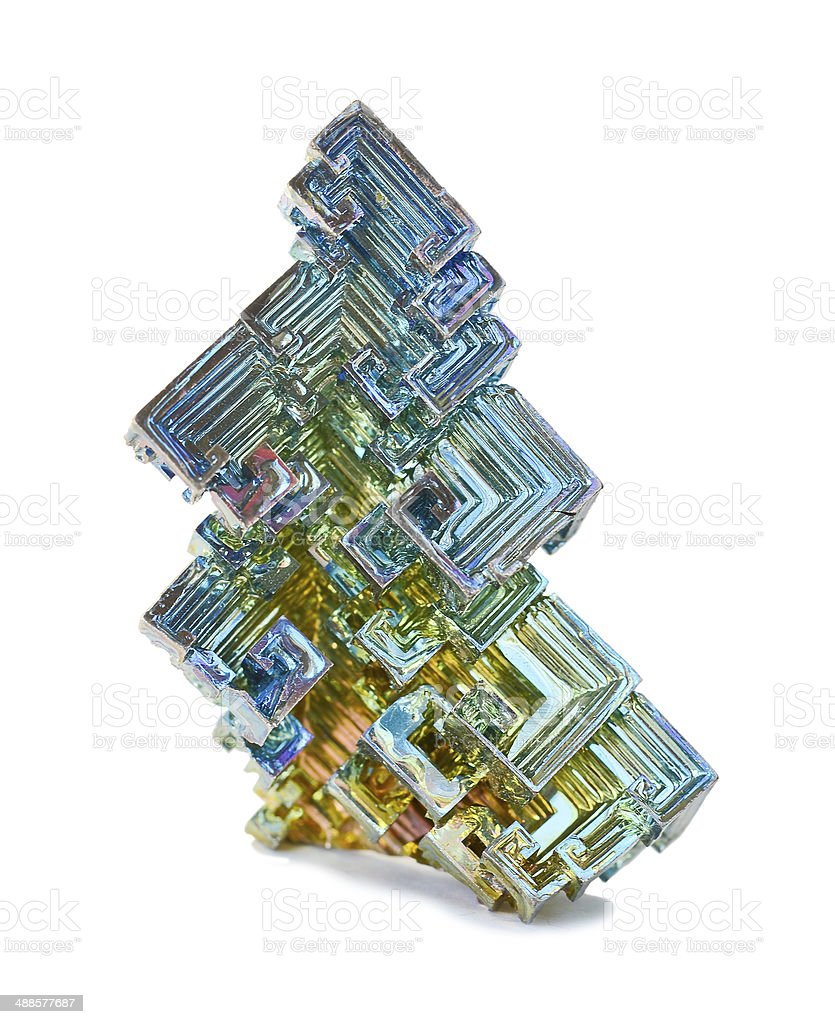 Crystals of bismuth stock photo