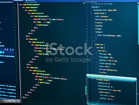 Css and html code on the screen. Web Design Concept. Technology source code, close-up