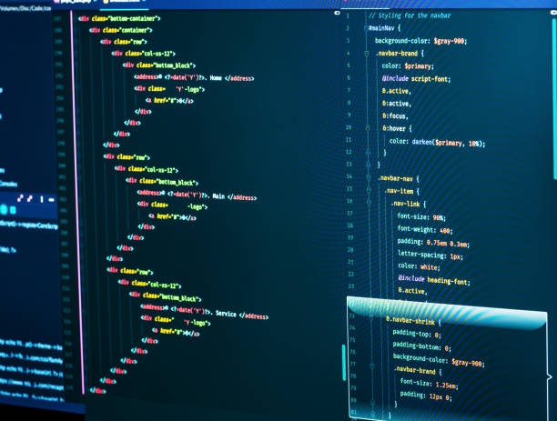 Css and html code on the screen. Web Design Concept. Technology source code, closeup stock photo