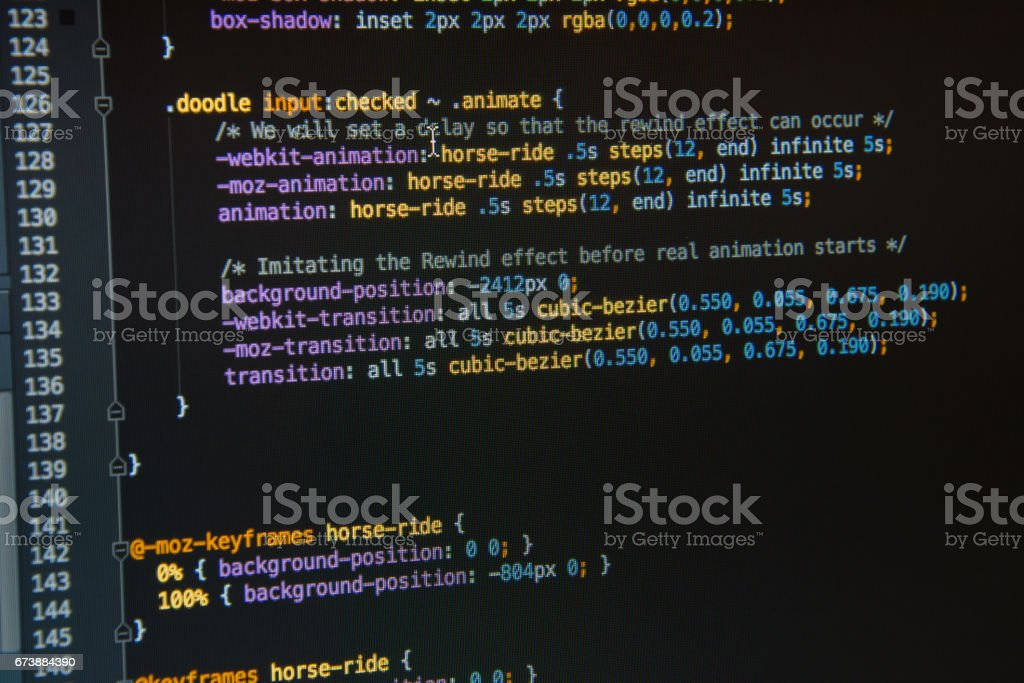Css3 code on dark background stock photo