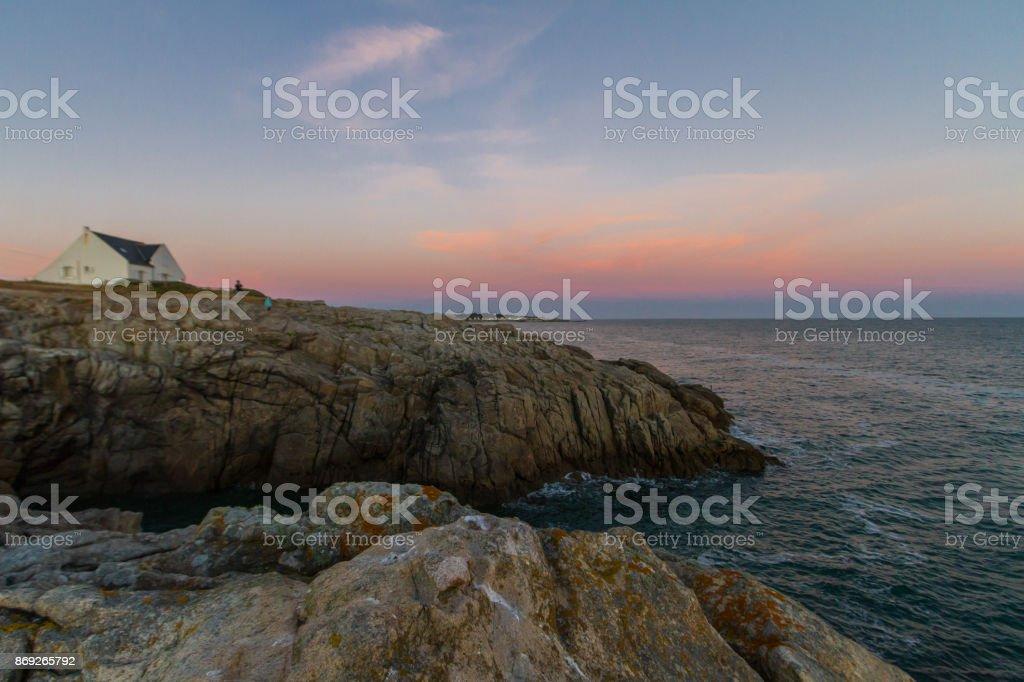 Côte sauvage sur la presqu'île de Guérande stock photo