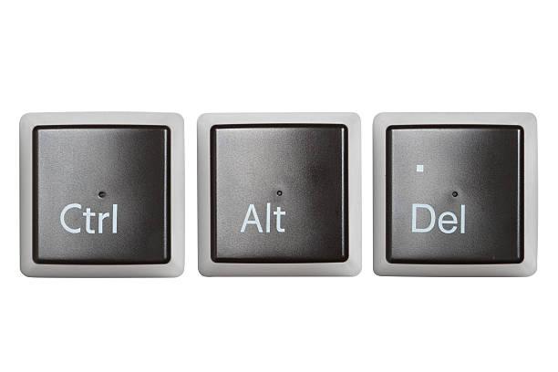 Ctrl, Alt, Del teclado llaves aislados - foto de stock