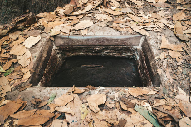 Cu chi tunnels history in Vietnam. Cu Chi tunnel built by vietnamese guerilla forces during Vietnam war, 60 km from Ho Chi Minh City, stock photo