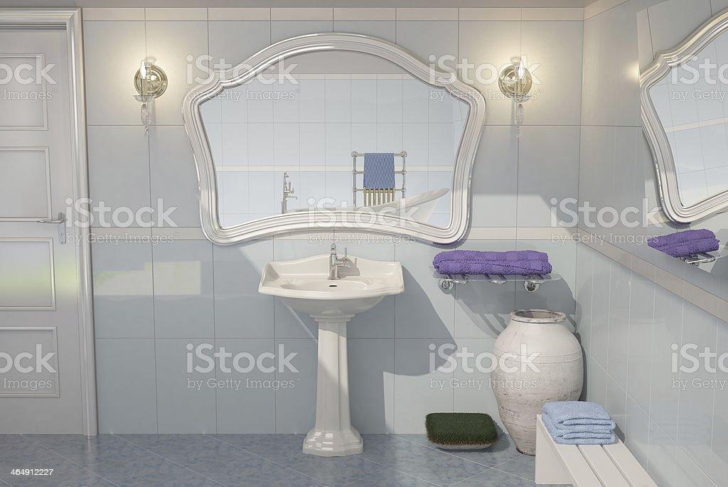 Cuarto de baño azul stock photo
