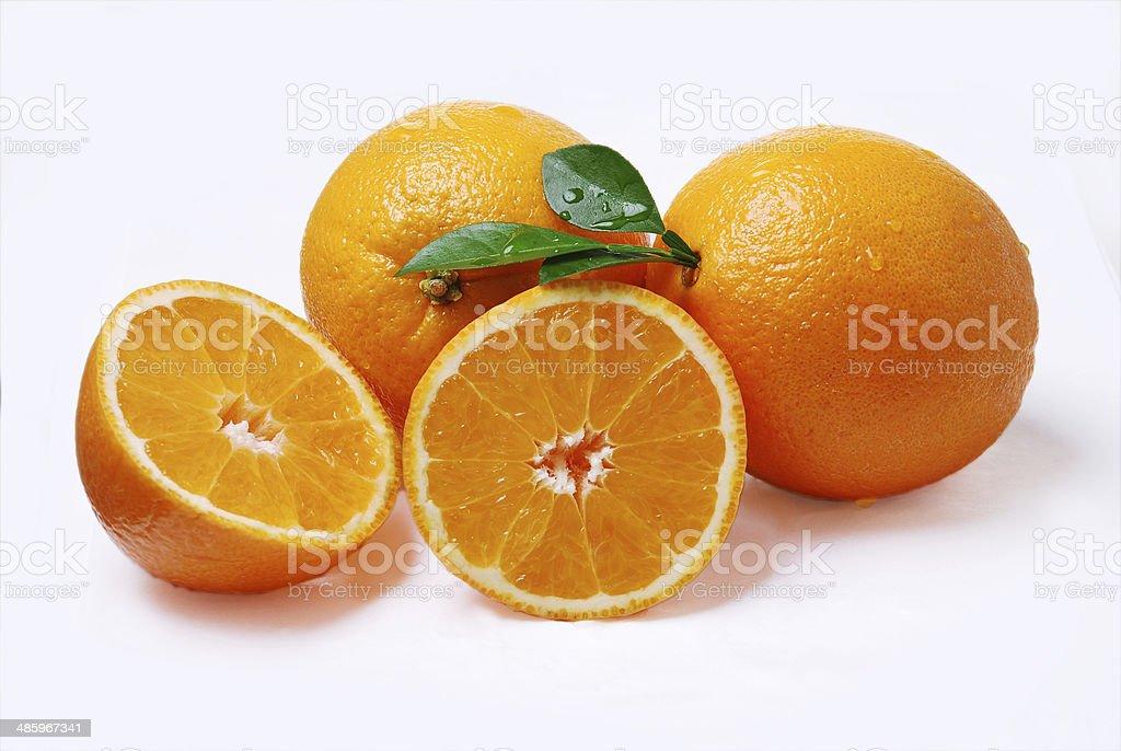 Cuatro deliciosas naranjas tropicales stock photo