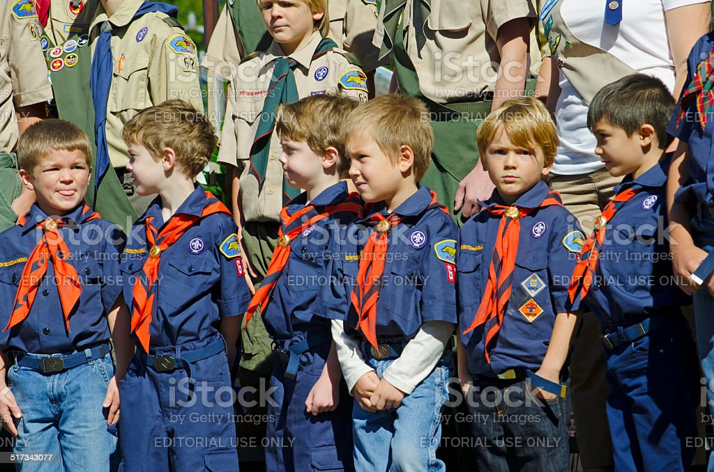 Cub Scouts and Boy Scouts of America stock photo