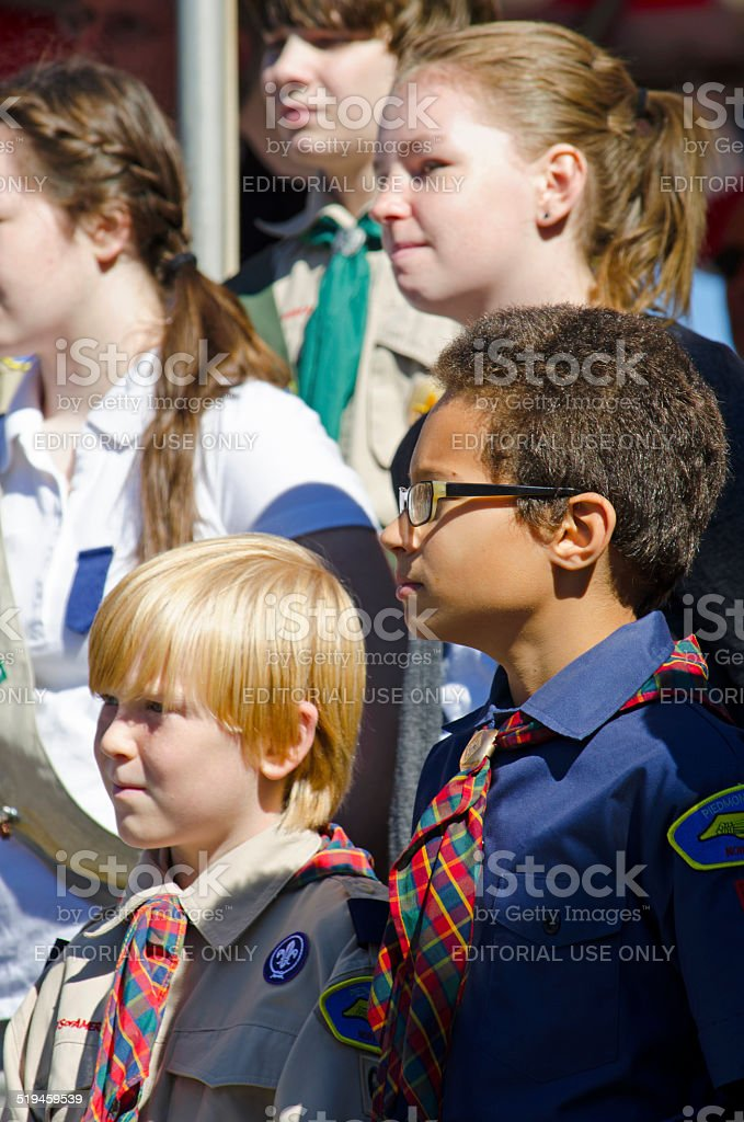 Cub Scouts and Girl Scouts stock photo