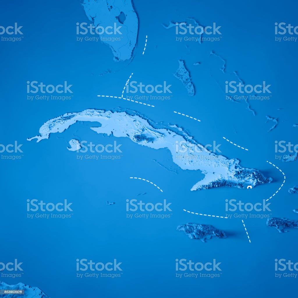 Cuba 3D Render Topographic Map Blue Border stock photo