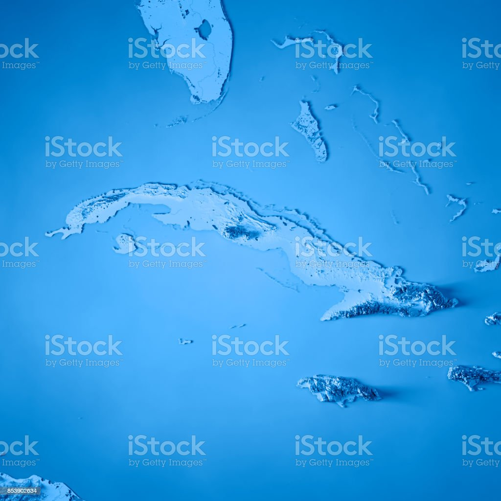 Cuba 3D Render Topographic Map Blue stock photo