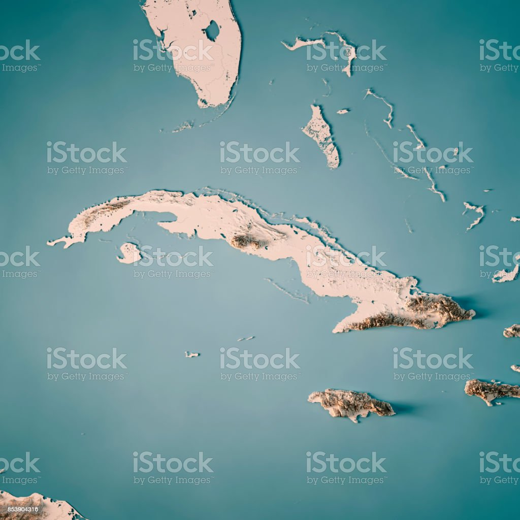 Cuba 3D Render Topographic Map Neutral stock photo