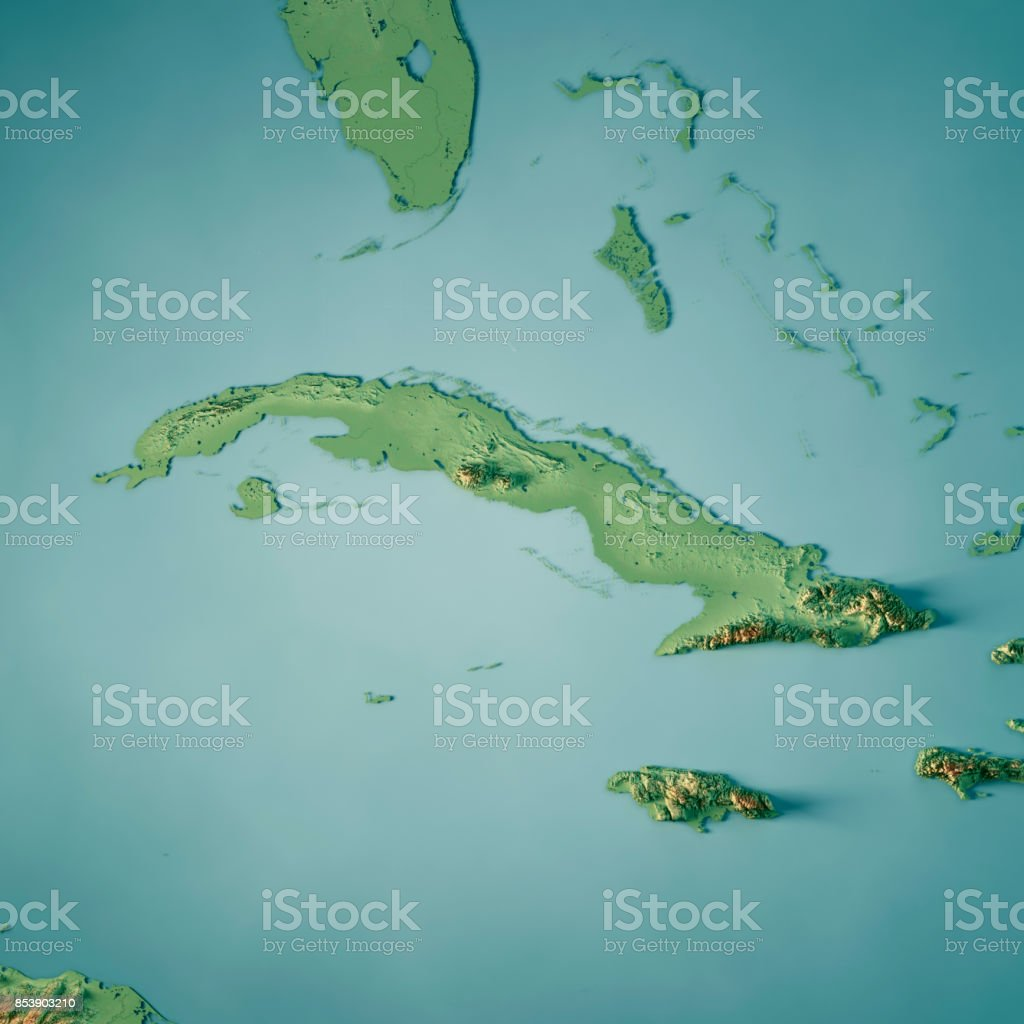 Cuba 3D Render Topographic Map stock photo