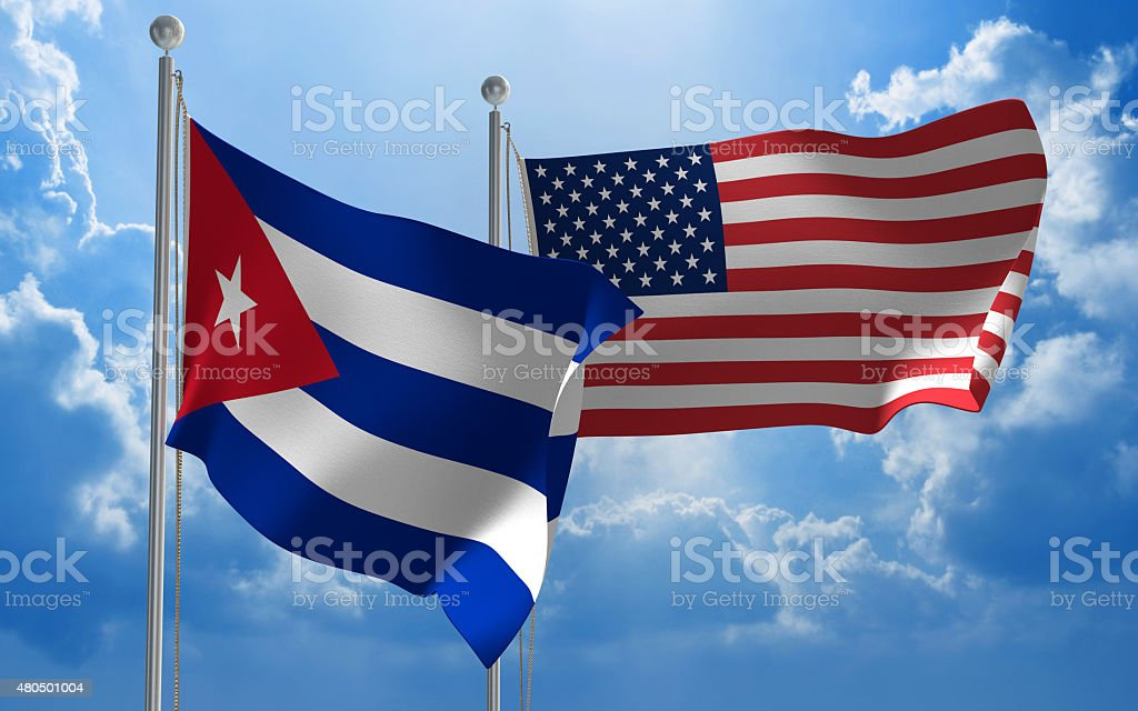 Cuba and United States flags flying together for diplomatic talks stock photo