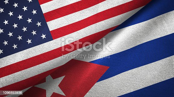 Cuba and United States flags together textile cloth, fabric texture